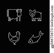 Poultry - Cow, Fish, Chicken And Pig - Vector Icons.