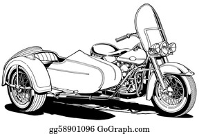 Motorcycle - Vintage Motorcycle With Side Car