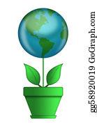 Flower-Pot - Go Green Flower Pot With Globe