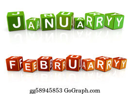 February - 3d Text Box January And February