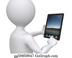 Humor - 3d Communication, Little Human Character With His Touch Pad