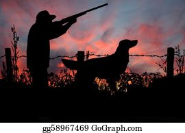 Skying - Sunrise Hunt, A Hunter And His Dog