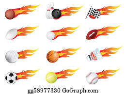 Flaming-Basketball - Sports Balls Of Many Types On Fire With Flames