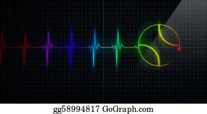 Baseball - Colorful Heartbeat Monitor With Baseball