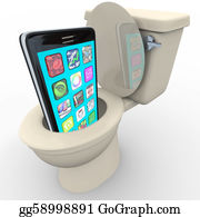 Recycle-Technology - Smart Phone In Toilet Frustrated Old Model Obsolete