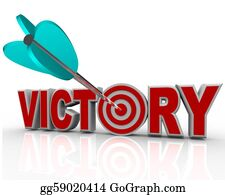 Bullseye - Victory Arrow In Word Succeed Triumph In Competition