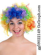 Wig - Happy Girl In A Colorful Wig