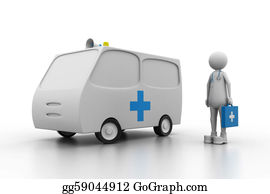Health-Care - Doctor With Ambulance. (health Care