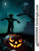 Scary-Pumpkin - Art  Halloween Night Background