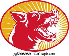 Barking-Dog - Angry Wild Dog Wolf Growling Woodcut