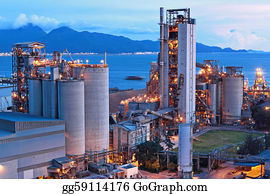 Concrete-Silo - Cement Factory At Night