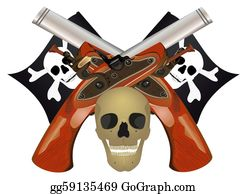 Antique-Pistols - Skull With The Crossed Pistols.