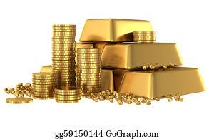 Treasure - 3d Gold Bars And Coins