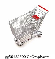 Trolley - Trolley From The Supermarket. 3d Rendering On White Background