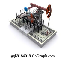 Drilling-Rig - Oil Pump-Jack Stands On A Pack Of Dollars