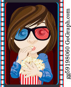 People-Watching-A-Movie - Girl Wearing 3d Glasses And Eating Popcorn