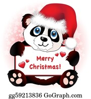 Panda - Christmas Panda With Heart Banner