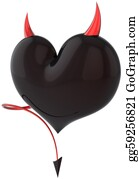 Rudeness - Devil Heart Love Colored Black