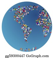 Globe-Flags - Globalisation, Earth Globe With People Made Of Flags Of The World