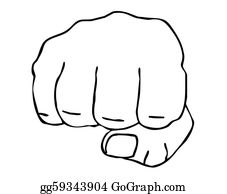 Fist - Drawing Of The Fist On White Backgr