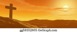 Headstone - Cross By Sunset