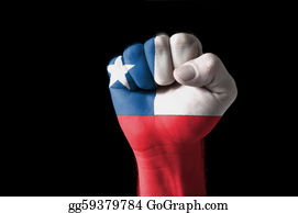 Fist - Fist Painted In Colors Of Chile Flag