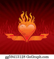 Flaming-Heart - Vector Illustration - Vintage Flaming Heart And Ribbons