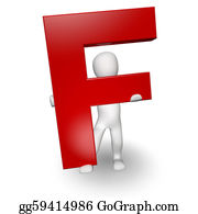 Letter-F - 3d Human Charcter Holding Red Letter F