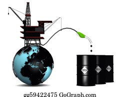 Drilling-Rig - Globe With Oil Rig And Petroleum Drums