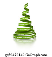 Coil - Xmas Tree Made With Green Ribbon Coil Where It's Written The Text Merry Christmas. 3d Render Over A White Background With Reflection