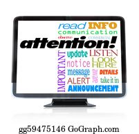Announcement - Attention Alert Announcement Words On Hdtv Television