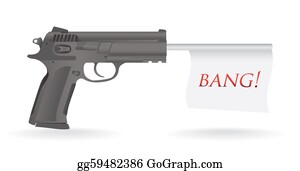 Antique-Pistols - Gun With Bang Flag Illustration