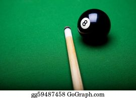 Cue-Ball -  Billiard Balls, Cue On Green Table