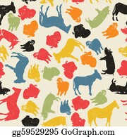 Poultry - Farm Animals Seamless Pattern