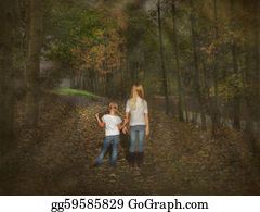 Little-Girls - Girls Walking In Autumn Woods