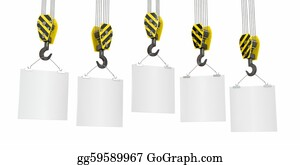 Crane - Crane Hooks With Empty Boards. 3d