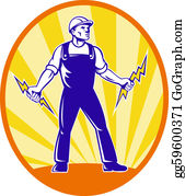 Lightning-Bolt - Electrician Repairman Holding Lightning Bolt
