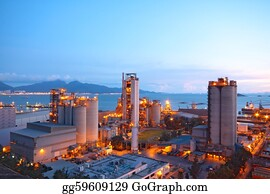 Concrete-Silo - Cement Plant,concrete Or Cement Factory, Heavy Industry Or Construction Industry.