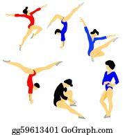 Gymnast -  Silhouette Gymnast On White Backgr