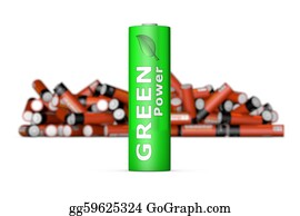 Ecological-Awareness - Green Eco Battery In Front