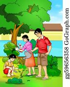 Illustration-With-Happy-Family - Gardening