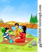Illustration-With-Happy-Family - Picnic