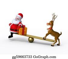 Reindeer-Christmas-Silhouettes - Santa Claus With Reindeer