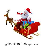 Reindeer-Christmas-Silhouettes - Santa With His Sleigh