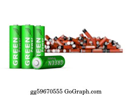 Ecological-Awareness - Green Eco Batteries In Front