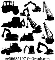 Tow-Truck - Set Of Vector Silhouettes Of  Construction Machine