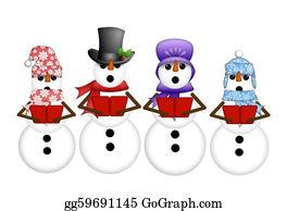 Choir - Snowman Carolers Singing Christmas Songs Illustration