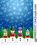 Choir - Snowman Carolers Singing With Winter Snowing Scene Illustration