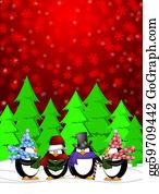 Choir - Penguins Carolers Singing With Red Winter Scene Illustration