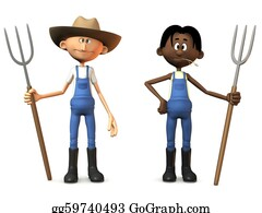 Cowboy-Boots - Cartoon Farmers Holding Pitchforks.